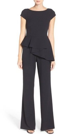 Petite Women's Eliza J Wide Leg Jumpsuit. A ruffly peplum is incredibly flattering on this crisp crepe jumpsuit equally appropriate for the office or parties. #fashion #style #christmas #office (affiliate)