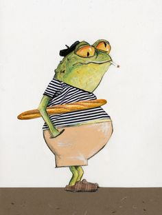 An illustration by dutch born illustrator Robert Wagt of a french frog for Bastille Day or le quatorze juillet french national holiday. Frosch Illustration, Cute Illustration, Funny Frogs, Cute Frogs, Frog Drawing, Frog Pictures, Frog Art, Frog And Toad, Oui Oui
