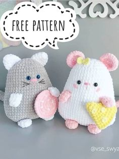 Free Crochet Cat And Mouse Pattern - Amigurumi Crochet Animal Patterns, Stuffed Animal Patterns, Crochet Patterns Amigurumi, Amigurumi Doll, Crochet Animals, Crochet Dolls, Crochet Cats, Crochet Mouse, Cute Crochet