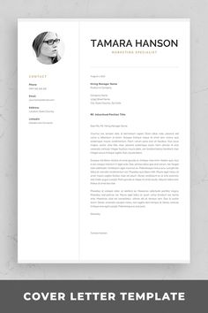Modern CV Template with Photo Modern Cv Template, One Page Resume Template, Resume Templates, Professional Cover Letter Template, Cover Letter For Resume, Resume References, Microsoft Word 2007, Marketing Jobs, Resume Design