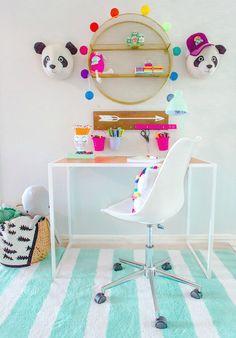 Pillowfort desk nook featuring circular shelf and other Pillowfort items