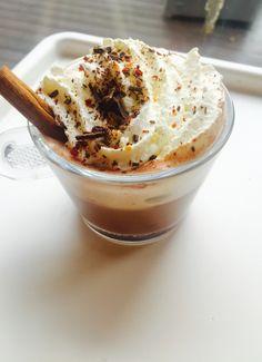 Spicy hot chocolate with chili, cinnamon and sea salt✨  #hotchocolate#chili#seasalt#whippedcream#spicyhotchocolate