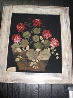 Primitive Gatherings Geranium Beauty the Pattern Hutch wool applique flowers spring wall hanging craft pattern