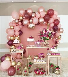 Balloon wall decor and flowering birthday party concept. 18th Birthday Party, Baby Birthday, Birthday Party Decorations, Baby Shower Decorations, Wedding Decorations, Flower Birthday, 33rd Birthday, Birthday Ideas, Shower Party