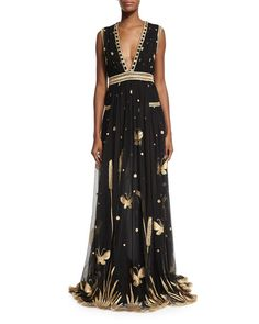 Diane von Furstenberg Vivanette Sleeveless Tulle Gown, Black/Gold