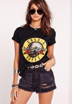 Missguided - Guns N Roses Slogan T-Shirt Black