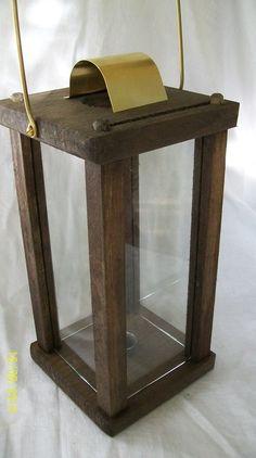 lanterna media quadrata in legno brunito shabby e vetro. Black Bedroom Furniture Sets. Home Design Ideas