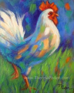 Two Roosters Flew the Coop, Paintings by Theresa Paden, painting by artist Theresa Paden