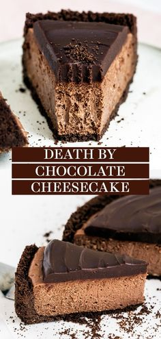 Death by Chocolate Cheesecake features chocolate in FOUR forms: cookie crust, homemade double chocolate cheesecake filling, and an easy from-scratch chocolate ganache topping. The best recipe ever! So delish. Double Chocolate Cheesecake, Chocolate Cheesecake Recipes, Easy Cheesecake Recipes, Chocolate Topping, Chocolate Desserts, Dessert Recipes, Best Homemade Cheesecake Recipe, Death By Chocolate Cake, Chocolate Ganache Cake