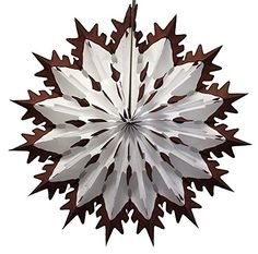Brown Tip Dip Dyed 19 Inch Tissue Paper Snowflakes.  Made in the USA by Devra Party.