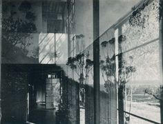 Charles Eames photograph of the Eames House living room, through a window.