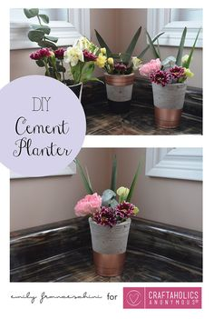 DIY Cement Planters using Plastic Cups. Fun and easy decor!