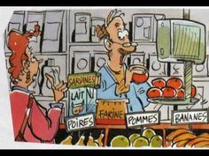 À l'épicerie -- 1.5 minute dialogue in French between grocer and customer; the words appear in speech bubbles; uses static drawings (not animated)