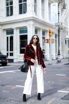 How to wear a wine red moto jacket with @farfetch