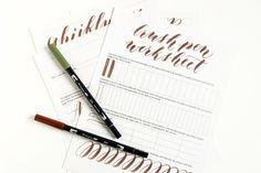 Free Brush Pen Calligraphy Worksheet