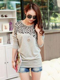 cool Leopard print round collar long sleeve T-shirt