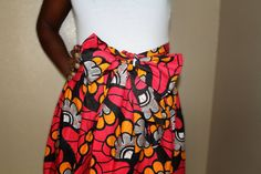 Pink and yellow African print skirt by ngozi on Etsy, $45.00