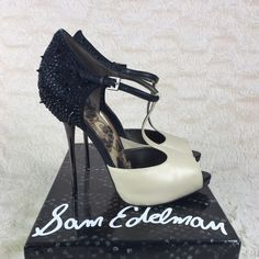 """Sam Edelman Scarlett T-Strap Pump - Sold Out Ivory and Black. Size 8, fits true to size. Never worn and comes with original box. Leather and fabric; Manmade sole. Heel measures approximately 4.5"""". Platform measures approximately 0.5"""". Price is negotiable! Sam Edelman Shoes Heels"""