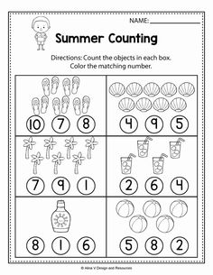 Maths Worksheets for Kids Kindergarten Counting Worksheets Summer Math Worksheets and Activities Counting Worksheets For Kindergarten, Kindergarten Addition Worksheets, Summer Worksheets, Free Printable Math Worksheets, Preschool Math, Tracing Worksheets, Subtraction Kindergarten, Kindergarten Writing, Fun Math