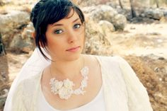 White Lace and Flowers One of a Kind Bridal by AuroraWithLove, $77.00