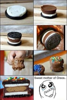 have to try this!!! oreo-reeses dipped in choco n topped with sprinkles....... MmMMmm