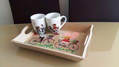 Wooden tray painted & Mugs set/ Tavă din lemn pictată și set căni Painted Mugs, Hand Painted Ceramics, Greek Pattern, Ceramic Angels, Flower Stands, On October 3rd, Coffee Set, Ceramic Mugs, Mugs Set