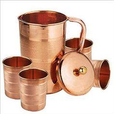 Pure Copper Jug for Health Benefits Indian Drinkware, Capacity 1.6 Litre  #VisvabhavanahMart