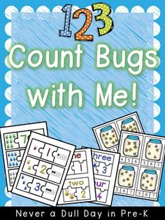 This FREEBIE includes insect themed math centers focused on 1-10 for Pre-k and primary students. *Count and clip firefly cards*Representing numbers puzzles