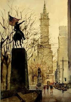 Watercolor artist Kazuo Kasai (Japanese: 1955) | 59th street 6th Ave.  South edge of Central Park.