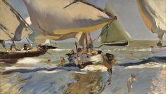 Joaquin Sorolla.Barcas en la Playa