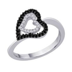 Black and White Diamond Double Heart Ring
