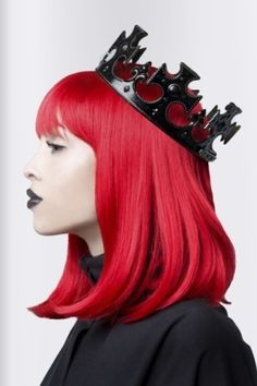 girl, princess, queen, awesome girl, beautiful girl, red hair, hairstyle, future fashion, hair style, black lips, futuristic fashion by FuturisticNews.com
