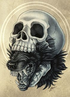 beast within by macgreen Memento Mori, Werewolf Tattoo, Totenkopf Tattoos, Desenho Tattoo, Skull Design, Skull And Bones, Future Tattoos, Skull Art, Dark Art