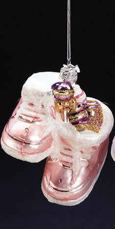 Kurt Adler Christmas Ornament Noble Gems Glass Baby's First Christmas Shoe Pink