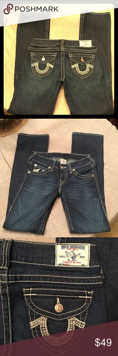 """True Religion Bootcut Jeans """"Becky"""" Jeans, size 28, inseam is 34"""" like new, no flaws.   Happy to bundle :)   All items come from a clean, non smoking home.   Check out my other items! Lots of Nike, Victoria Secret, Under Armour, Lululemon, American Eagle, J Crew, Athleta, Buckle & Miss Me items. True Religion Jeans Boot Cut"""