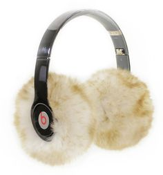 Stylish tech gifts for women: faux fur ear muffies. Turn any of your headphones into ear muffs! How fun (and great gift).