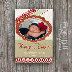 """PRINTABLE Merry Christmas Card - 5"""" x 7"""" Custom Designed Holiday Card - Customizable Text - Aztec Tribal Pattern With Burlap, Red Green Tan by FoothillCrafters on Etsy"""