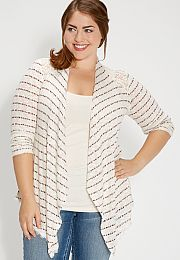 plus size striped cardigan with lace - maurices.com