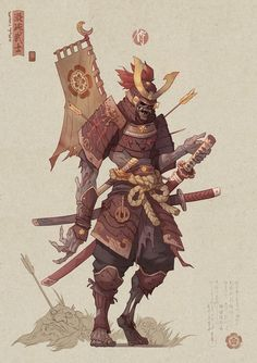ArtStation - Hua Lu & # s Submission on Feudal Japan: The Shogunate - Character Design Fantasy Character Design, Character Design Inspiration, Character Concept, Character Art, Samourai Tattoo, Samurai Concept, Fantasy Samurai, Ronin Samurai, Samurai Wallpaper