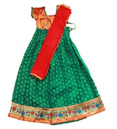 Gorgeous Kids red and green half saree .. price  Rs 1275 size : 10 -11 years Free shipping all over India whatsapp : +91-9629187349
