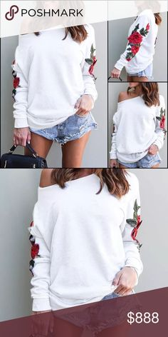 Just In! Off Shoulder Embroidered Sweater Long sleeve white sweater with raw hemmed scoop neck. Red flowers embroidered on the sleeves. Hangs loosely. Sweaters