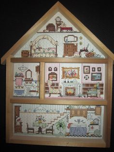 Cross Stitch---Wouldn't this idea be outstanding to do a haunted house? Add bead/object embroidered details. Hmm. Food for thought.
