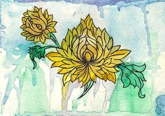 Tibetan Flowers watercolor / ink drawing inspired by ancient Tibetan artwork