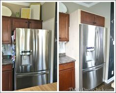 Before and After: A step by step tutorial on building in a cabinet on top of the refrigerator.