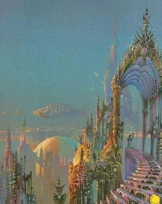 Aesthetic Art, Aesthetic Pictures, Fantasy World, Fantasy Art, Fairytale Art, Alphonse Mucha, Visionary Art, Fantasy Landscape, Retro Futurism