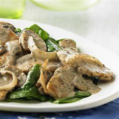 Creamy Chicken and Mushrooms.  So good and easy to make. Fresh spinach makes a great addition.