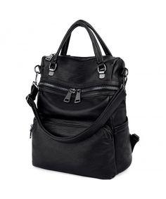 9509afd7e921 LARGE SIZE-Women Backpack Purse PU Washed Leather Ladies Rucksack Shoulder  Bag - Black  - CX1808QSU2G  Bags  Handbags  Backpacks  gifts  Style   ...