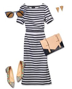 STRIPED DRESS Why it works: For a Coco Chanel in Biarritz vibe, select a dress with horizontal sailor's stripes and a long, skinny silhouette. Give the look polish with an envelope bag in place of a straw tote. Sunglasses, Le Specs, $59, zappos.com; Rose gold finish, Sarah Magid Jewelry, $98, sarahmagid.com; Satchel, Lauren Moffatt for Lauren Merkin, $395; laurenmerkin.com; Dress, Kate Spade Saturday, $120; saturday.com; Flats, Marais USA, $156; maraisusa.com