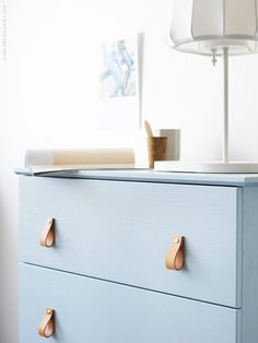 DIY – Ikea Dresser Hack - Powder Blue Dresser with Leather Pulls Blue Drawers, Blue Dresser, Ikea Dresser, Dresser Pulls, Ikea Hack Nightstand, Dresser Drawers, Retro Furniture, Ikea Furniture, Furniture Makeover