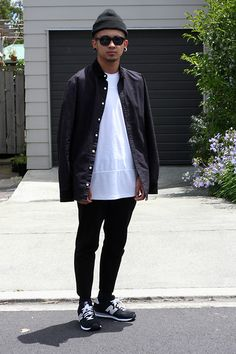 American Apparel Black Beanie, I Love Ugly Black Formal Shirt, I Love Ugly White Football Jersey, Asos Black Cropped Jersey Trousers, New Balance Sneaks